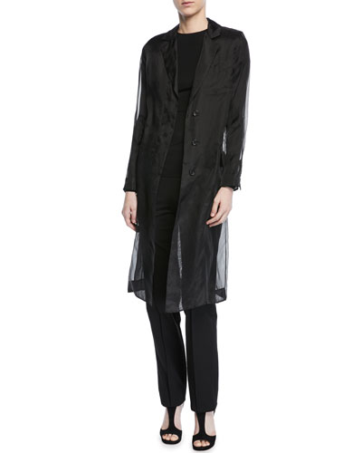 Soraga Long-Sleeve Silk Organza Trench Coat and Matching Items