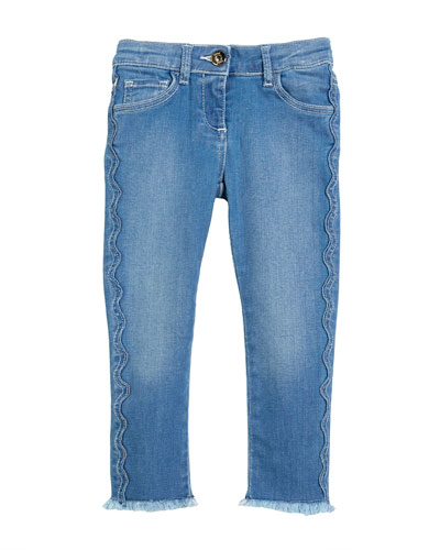 Raw-Hem Scallop Denim Jeans, Size 4-5 and Matching Items