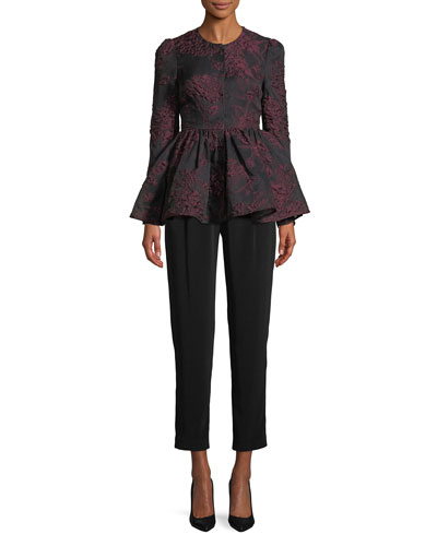 Floral-Jacquard Collarless Peplum Jacket and Matching Items
