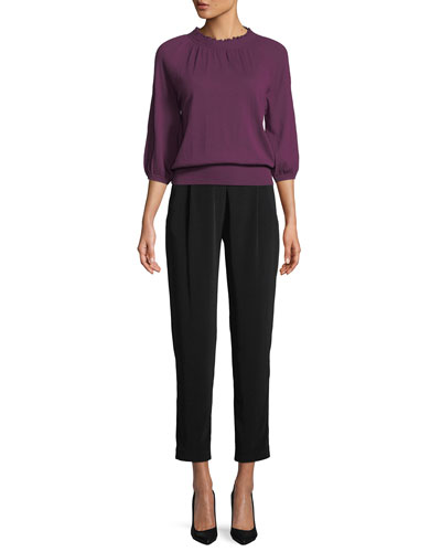 Scalloped-Neck 3/4-Sleeve Fine Cashmere Knit Sweater and Matching Items