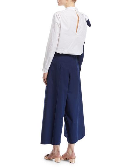Colorblock Ruffle Long-Sleeve Cotton Top