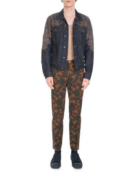 Voste Dark-Wash Embroidered Jean Jacket