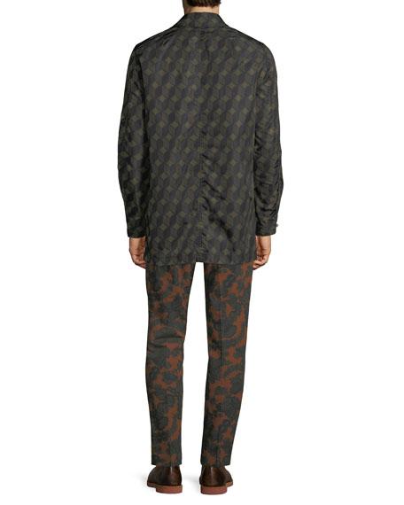 Revell Short Geometric-Pattern Nylon Trench Coat