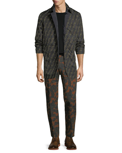 Geometric-Pattern Nylon Trench Coat and Matching Items