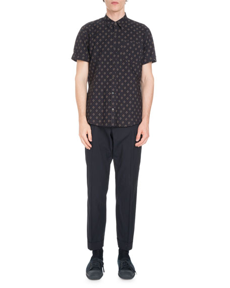 Short-Sleeve Geo-Print Shirt