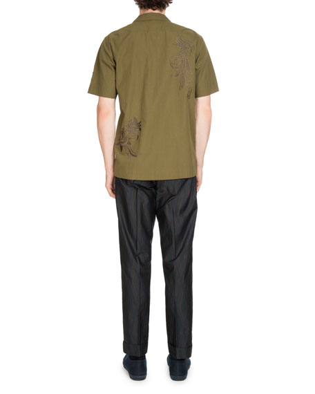 Carlton Embroidered-Trim Short-Sleeve Shirt