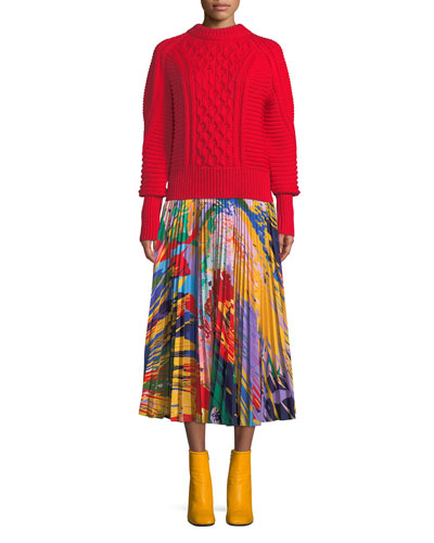 Crewneck Long-Sleeve Chunky Wool Pullover Sweater and Matching Items