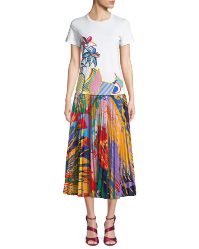 Splatter-Paint Print Pleated Midi Skirt and Matching Items