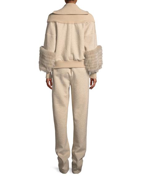 Zip-Front Dropped-Shoulder Cotton Jersey Bomber Jacket w/ Fox Fur
