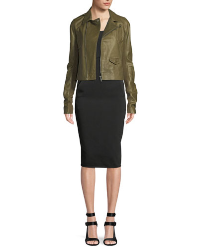 Zip-Front Lamb Leather Biker Jacket and Matching Items