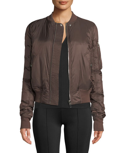 Zip-Front Shiny Puffer Bomber Jacket and Matching Items