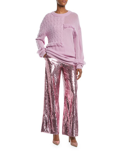 Oversized Crewneck Mixed-Knit Cashmere Sweater w/ Fringe and Matching Items