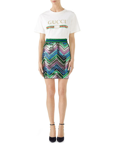 Gucci-Print Cotton Tee, White and Matching Items