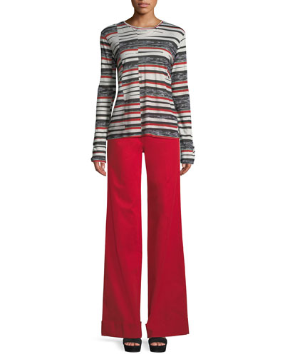 Crewneck Long-Sleeve Abstract Bold-Stripe Top and Matching Items