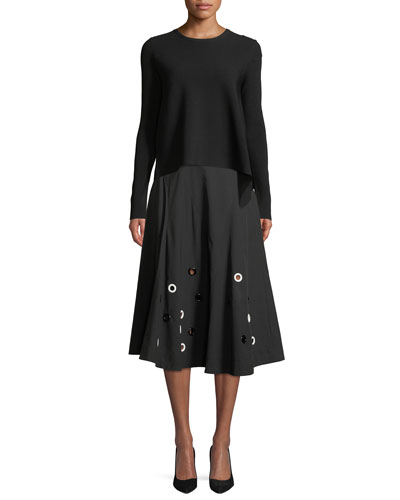 Flared Cotton Midi Skirt with Grommets and Matching Items