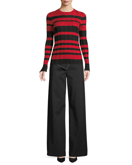 Crewneck Long-Sleeve Striped Ribbed Pullover Sweater