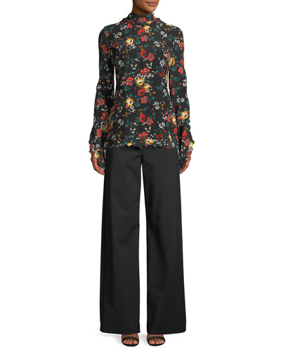 Mock-Neck Long-Sleeve Floral-Print Silk Blouse and Matching Items