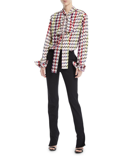 Scarf-Neck Long-Sleeve Houndstooth-Print Silk Top and Matching Items
