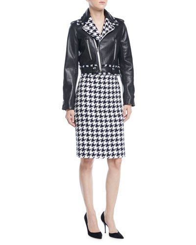 Zip-Front Cropped Leather Moto Jacket w/ Houndstooth Trim and Matching Items