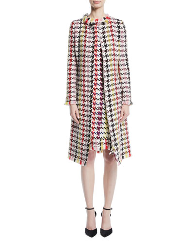Multicolor Tweed Zip-Front A-Line Coat and Matching Items