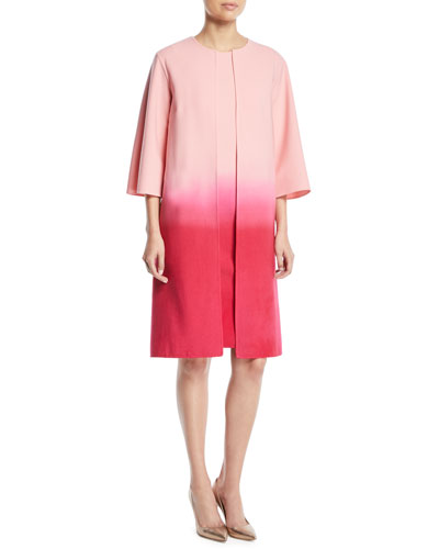 Dip-Dye Ombre 3/4-Sleeve No-Closure Long Jacket and Matching Items