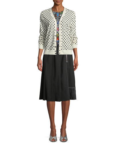 Polka-Dot Wool V-Neck Cardigan and Matching Items