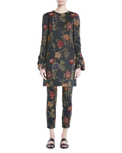 Long-Sleeve Floral-Jacquard Stretch Satin Shift Dress and Matching Items
