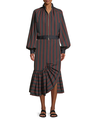 Barcode Stripe Cotton Balloon Jacket  and Matching Items