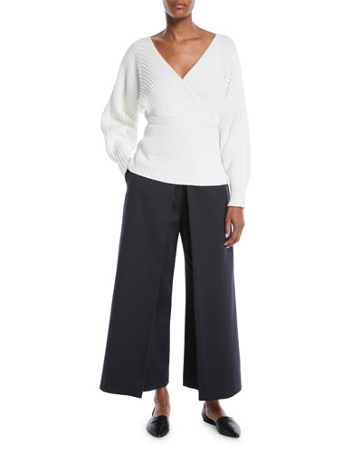 V-Neck Reversible Ribbed Wrap Pullover Sweater and Matching Items