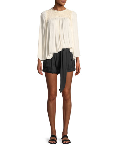 Flowy Smocked-Neck Top and Matching Items