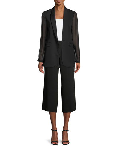 Jovana One-Button Sheer-Sleeve Jacket and Matching Items