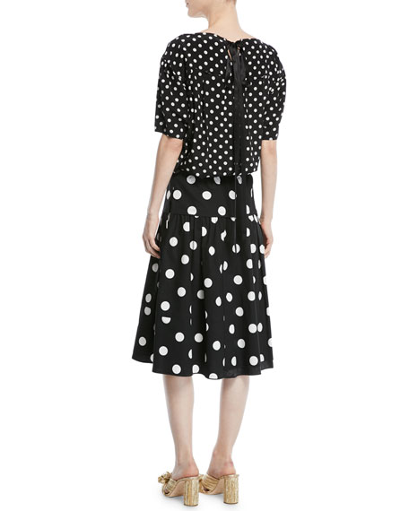 Short-Sleeve Polka-Dot Silk Top