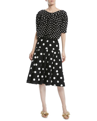Short-Sleeve Polka-Dot Silk Top and Matching Items