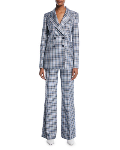 Double-Breasted Novelty-Plaid Silk-Wool Blazer and Matching Items