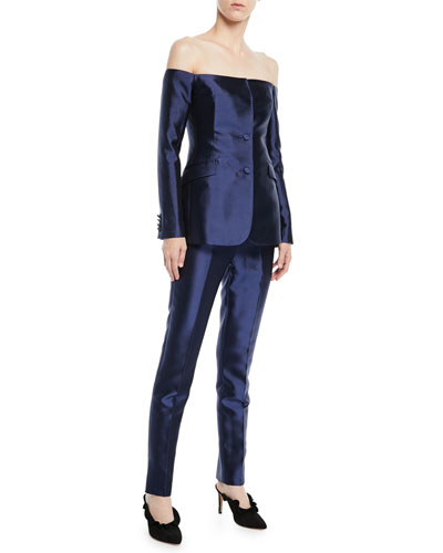 Off-the-Shoulder Button-Front Silk-Wool Blazer and Matching Items