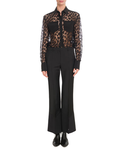 Leopard Mesh Two-Pocket Blouse and Matching Items