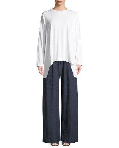 Long-Sleeve Round-Neck Pima Cotton T-Shirt and Matching Items