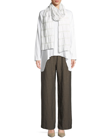 Long-Sleeve Round-Neck Pima Cotton T-Shirt