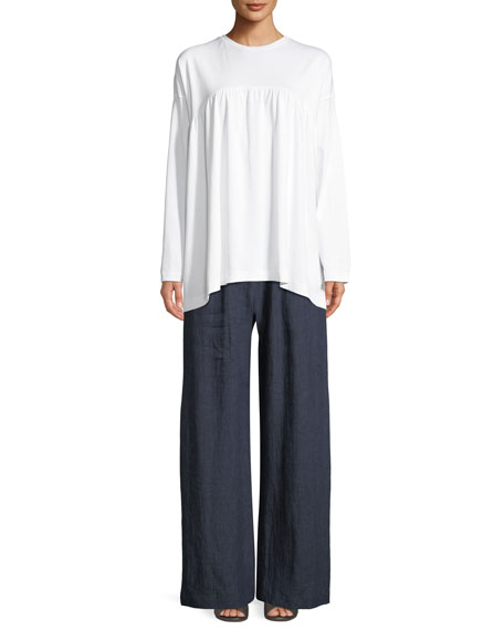 Round-Neck Long-Sleeve Shirred-Front Pima Cotton Top