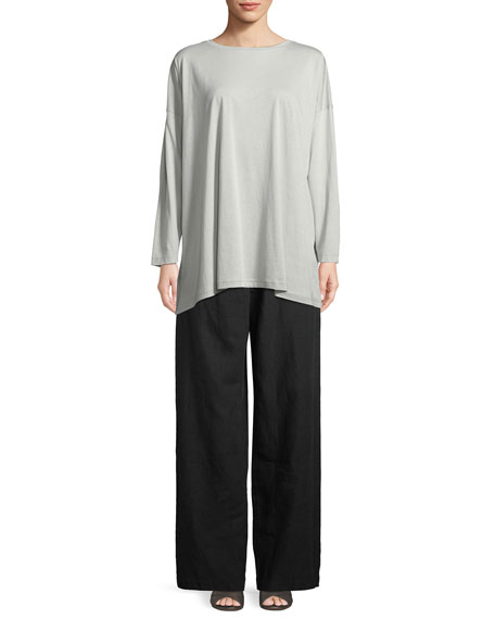 Long-Sleeve Boat-Neck Pima Cotton Top