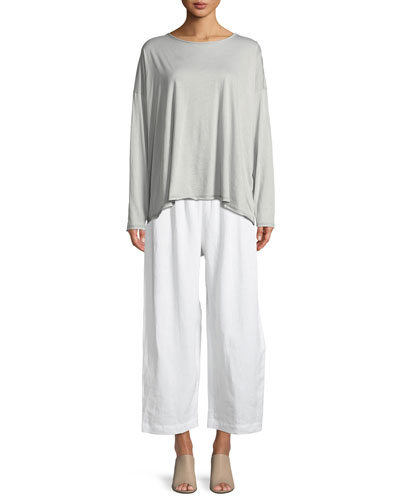 Long-Sleeve Double-Edge Scoop-Neck Top and Matching Items