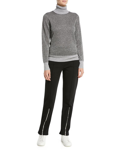 High-Neck Metallic-Knit Sweater and Matching Items