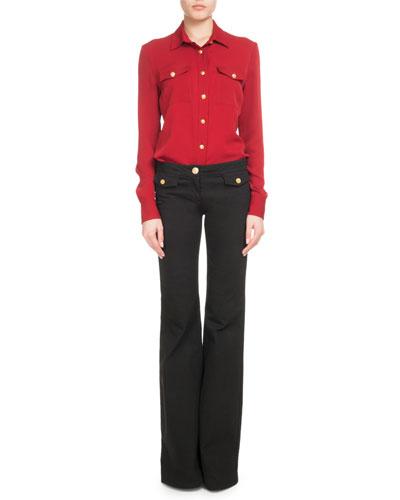 Long-Sleeve Golden-Button Silk Blouse and Matching Items