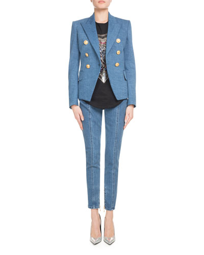 Double-Breasted Classic Denim Blazer and Matching Items