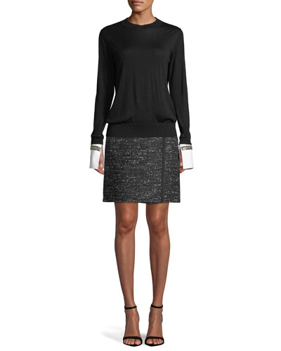 Crewneck Long-Sleeve Merino Wool Sweater w/ Crystal Poplin Cuffs and Matching Items