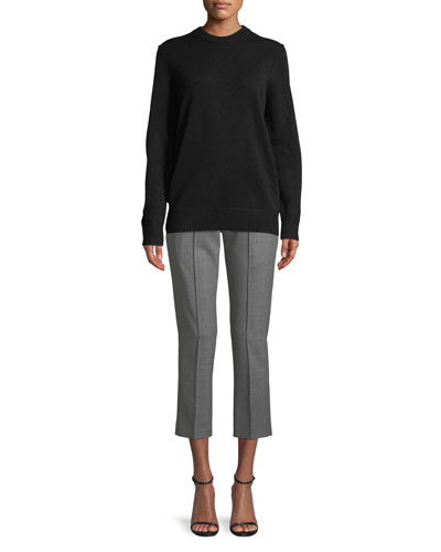 Crewneck Long-Sleeve Oversized Cashmere Sweater and Matching Items