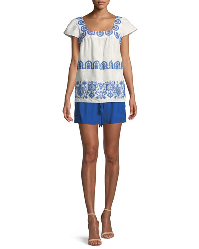 Embroidered Flutter-Sleeve Blouse and Matching Items