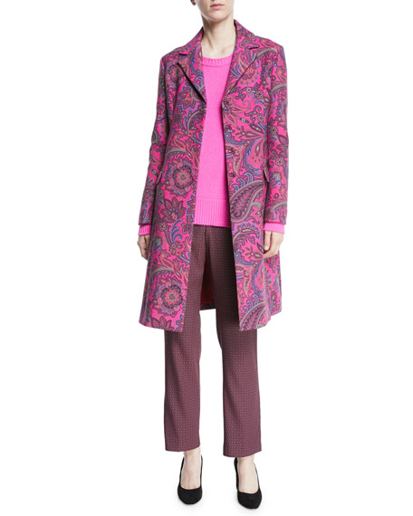 Paisley Jacquard Single-Breasted Topper Coat