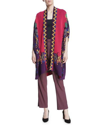 Open-Front Metallic-Chevron Floral-Intarsia Knit Poncho and Matching Items