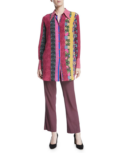 Multi-Print Button-Front Long-Sleeve Silk Blouse and Matching Items
